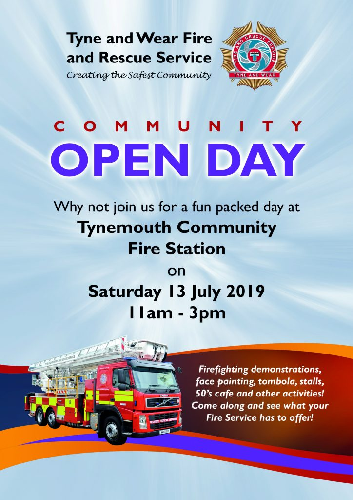 Community Open Day! Why not join us for a fun packed day at Tynemouth Community Fire Station on Saturday 13 July 2019, 11am - 3pm.