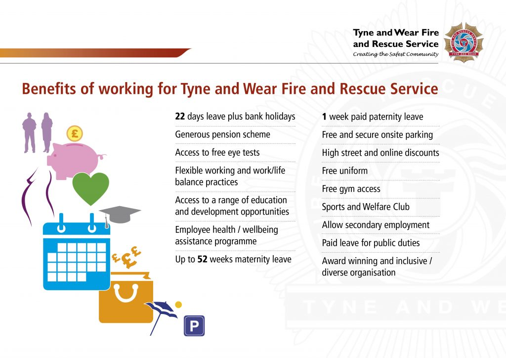 Benefits of working for TWFRS: 22 days leave plus bank holidays, generous pension scheme, access to free eye tests, flexible working, access to education and development opportunities, employee health and wellbeing assistance programme, up to 52 weeks maternity leave, 1 week paid paternity leave, free onsite parking, high street and online discounts, free uniform, free gym access, sports and welfare club, allow secondary employment, paid leave for public duties, award winning and inclusive / diverse organisation