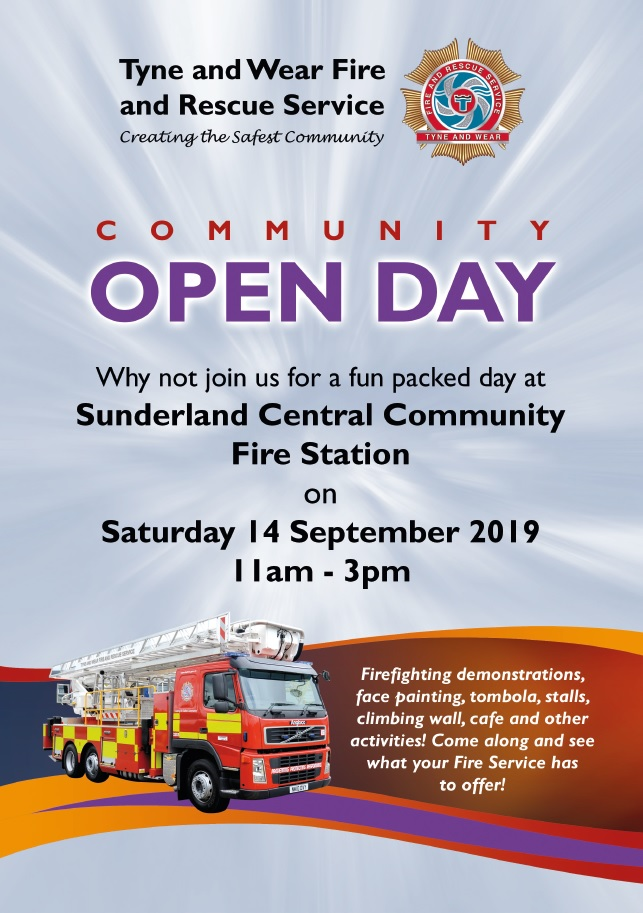 Community Open Day - Sunderland Central Community Fire Station - 11am to 3pm on Saturday 14 September